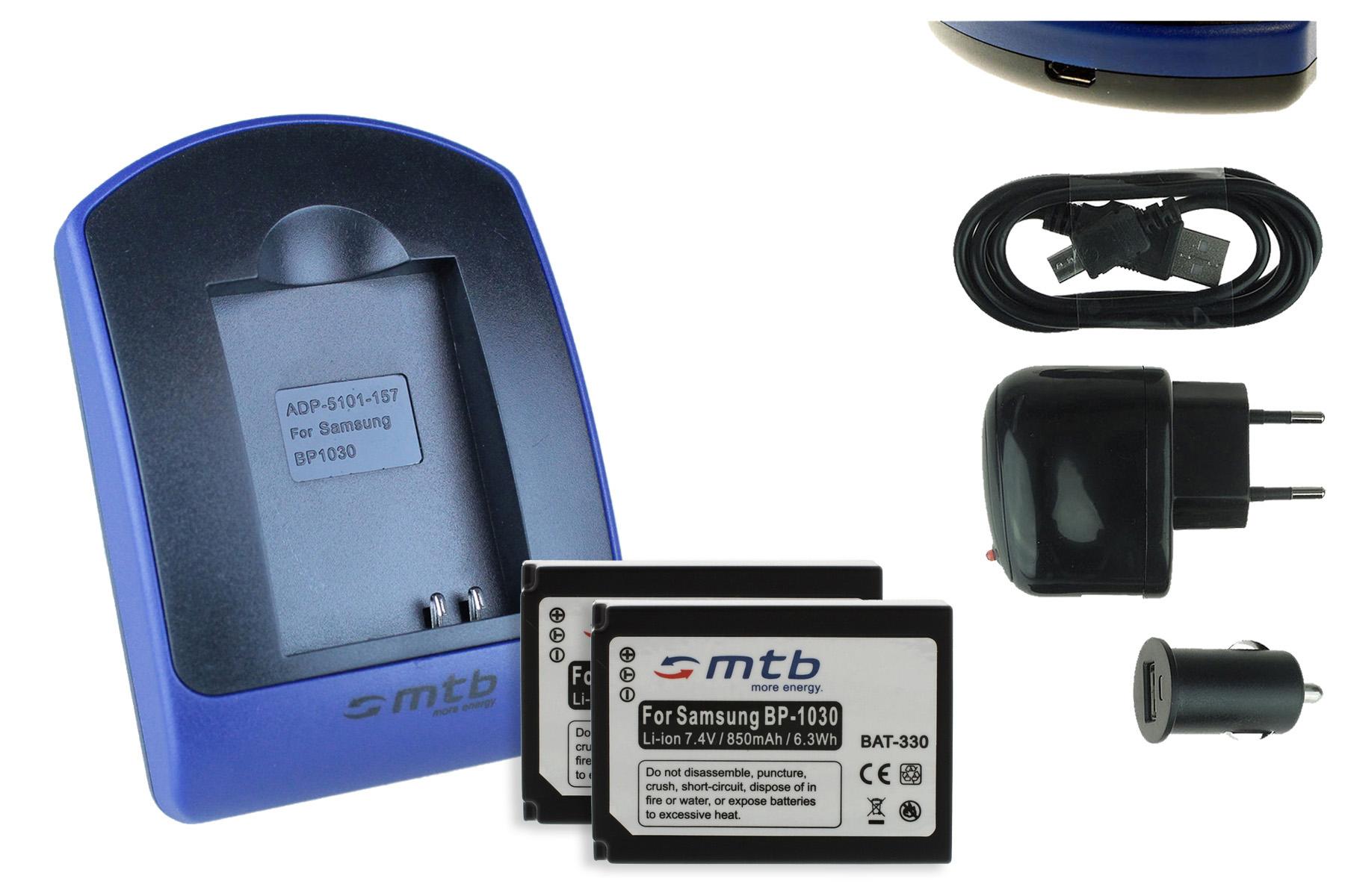 2 batteries chargeur usb bp1030 bp1130 pour samsung nx310 nx1000