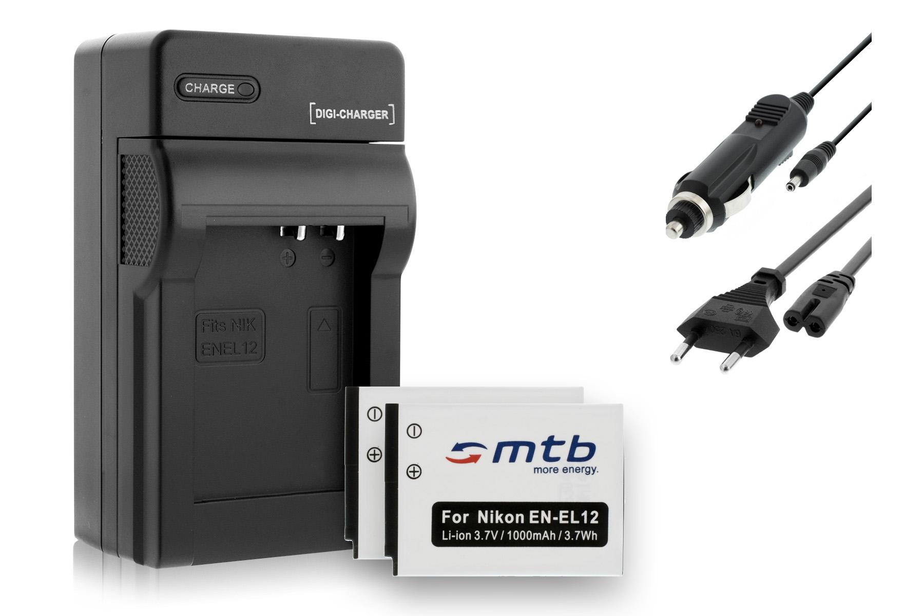 S9400 2x Baterìas EN-EL12 S9200 Cargador para Nikon Coolpix S9100 S9300