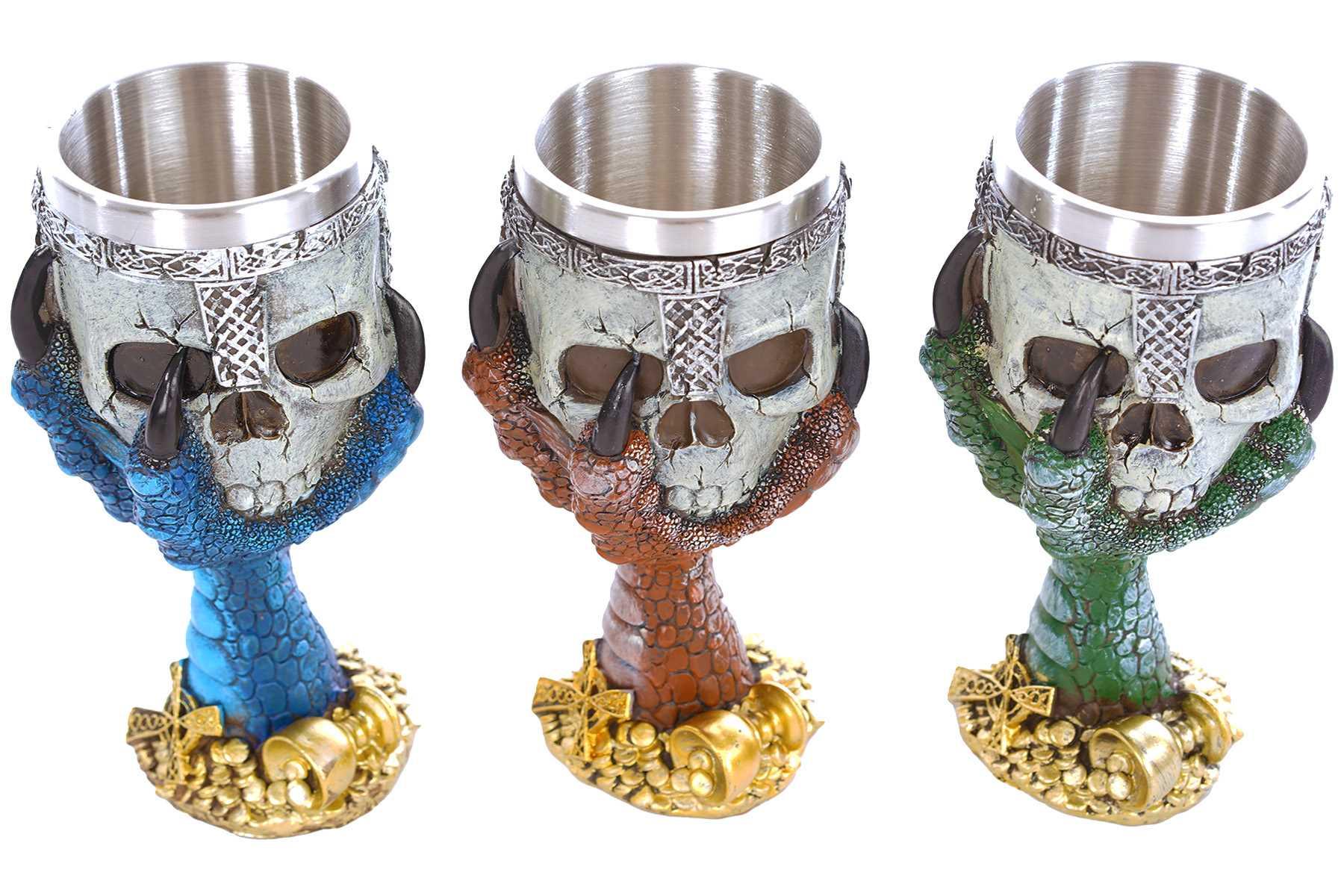 deko wein kelch 18 cm dragon claw trink kelch fantasy gothic skull gr n. Black Bedroom Furniture Sets. Home Design Ideas