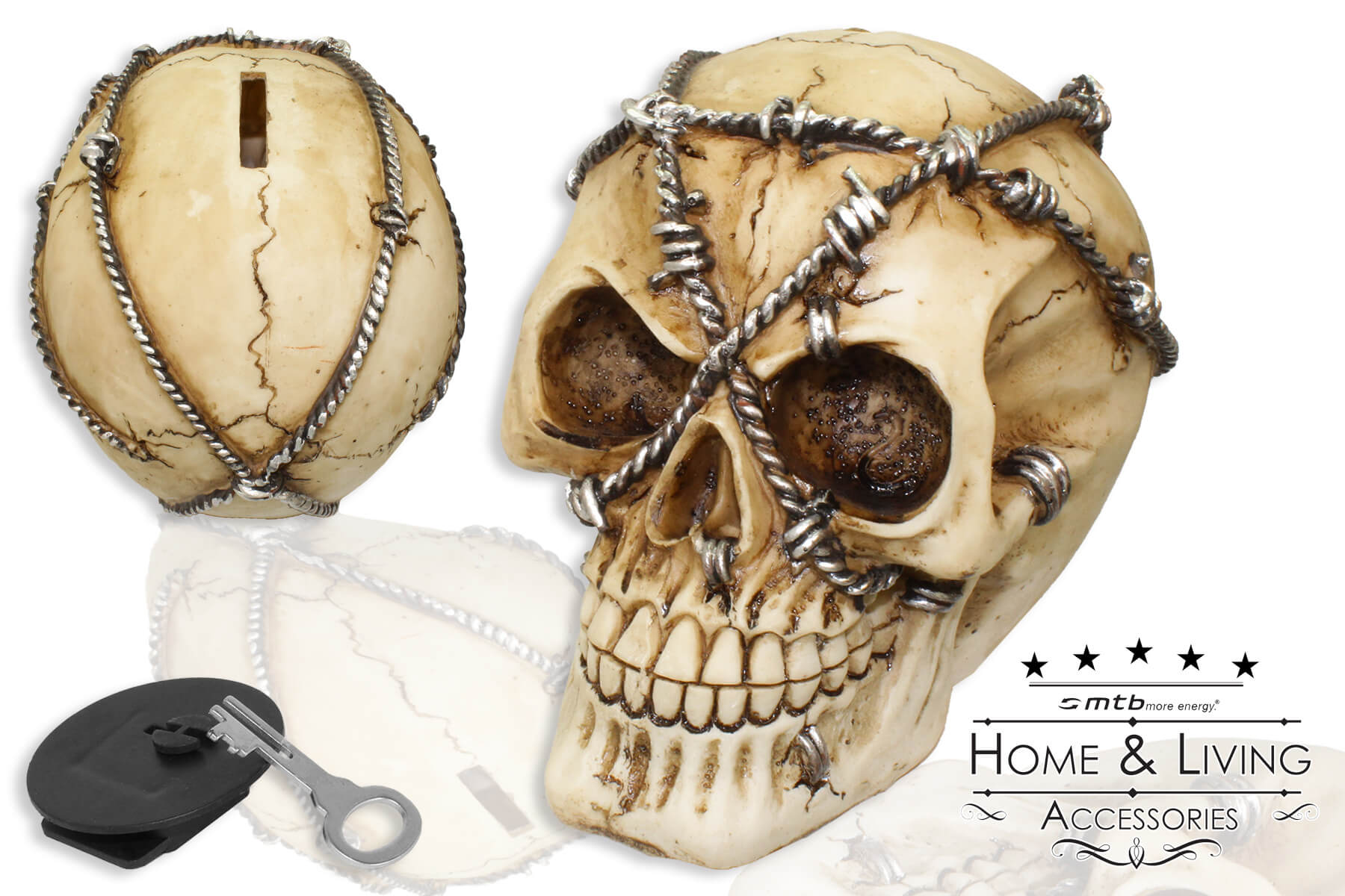 totenkopf spardose deko skull iron wire deko skull horror halloween draht ebay. Black Bedroom Furniture Sets. Home Design Ideas