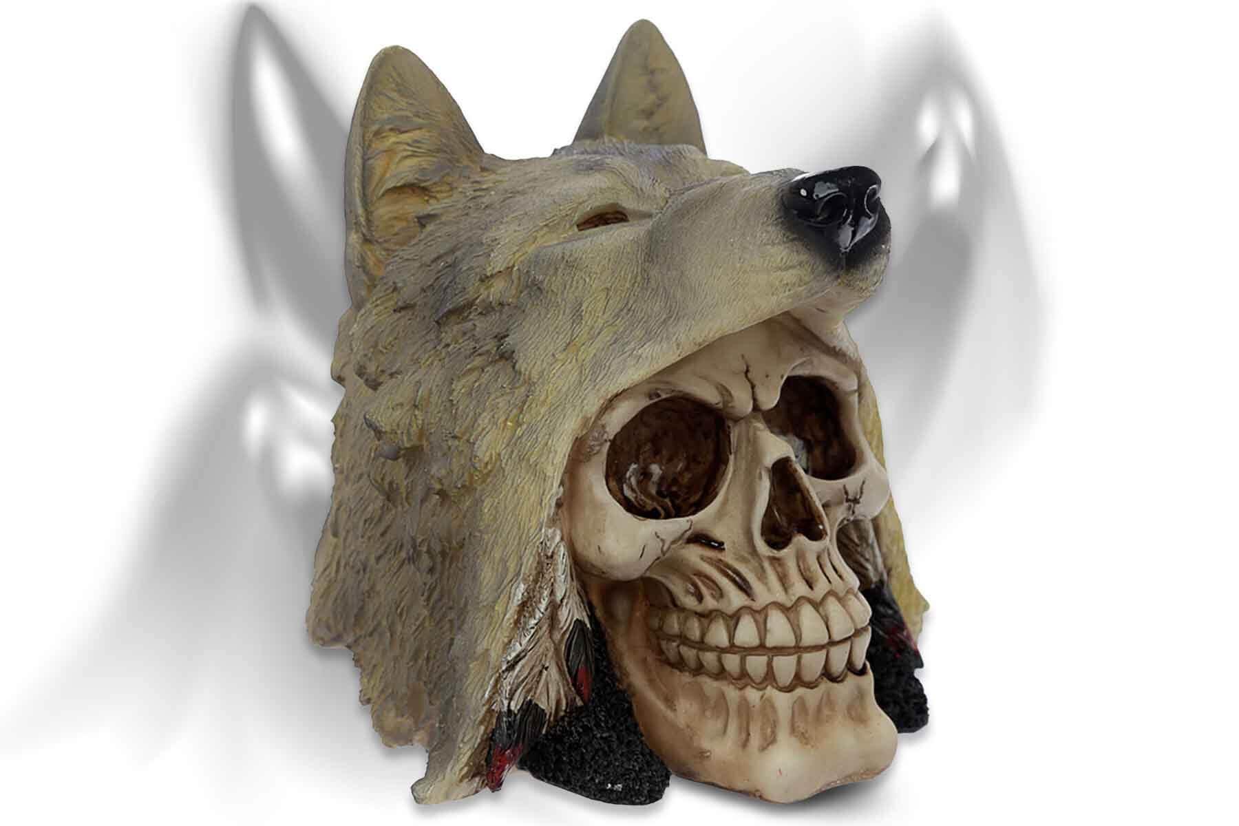 deko totenkopf spirit of the wolf deko sch del totensch del grusel skull ebay. Black Bedroom Furniture Sets. Home Design Ideas
