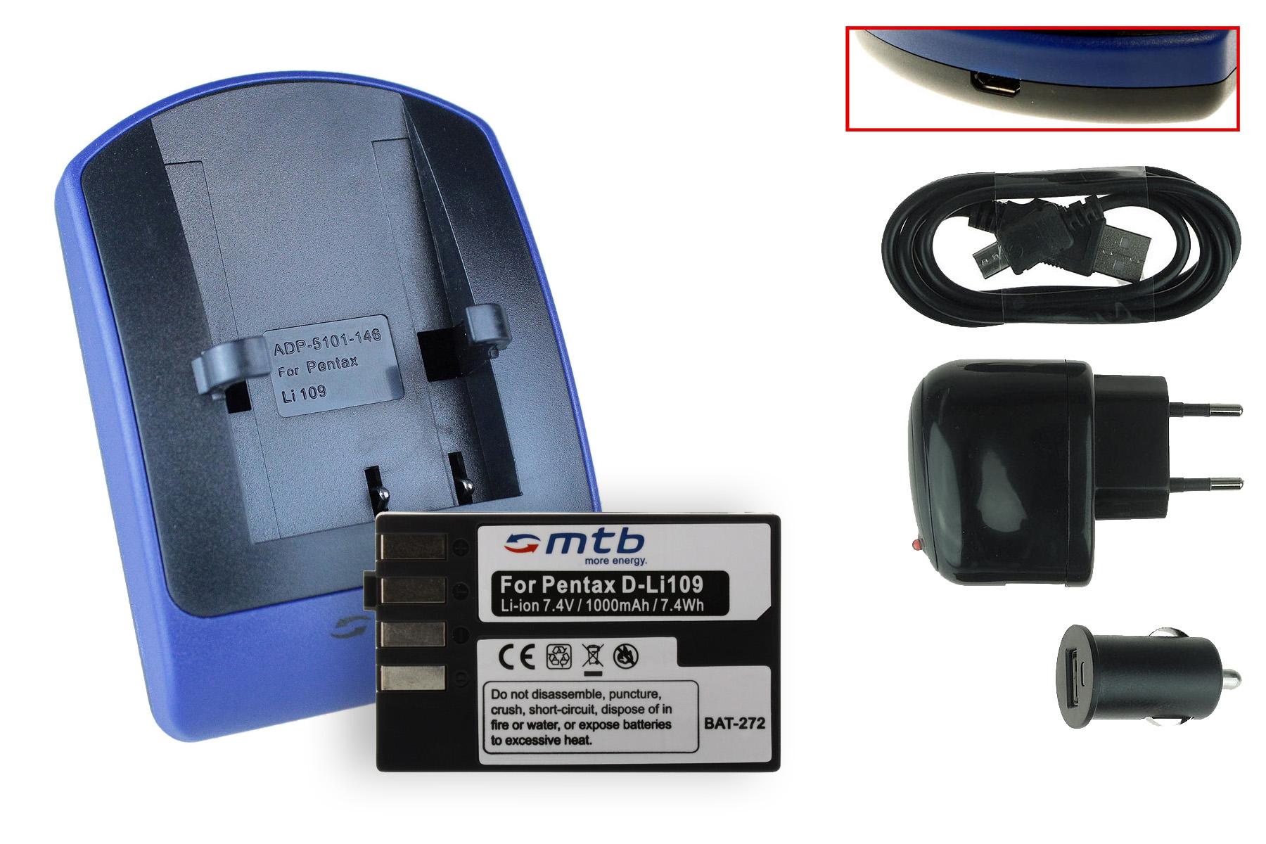 Ladegerät Set für Pentax ACCU K-30 K-50 K-70 K-500 K-R K-S1 K-S2 Ladestation