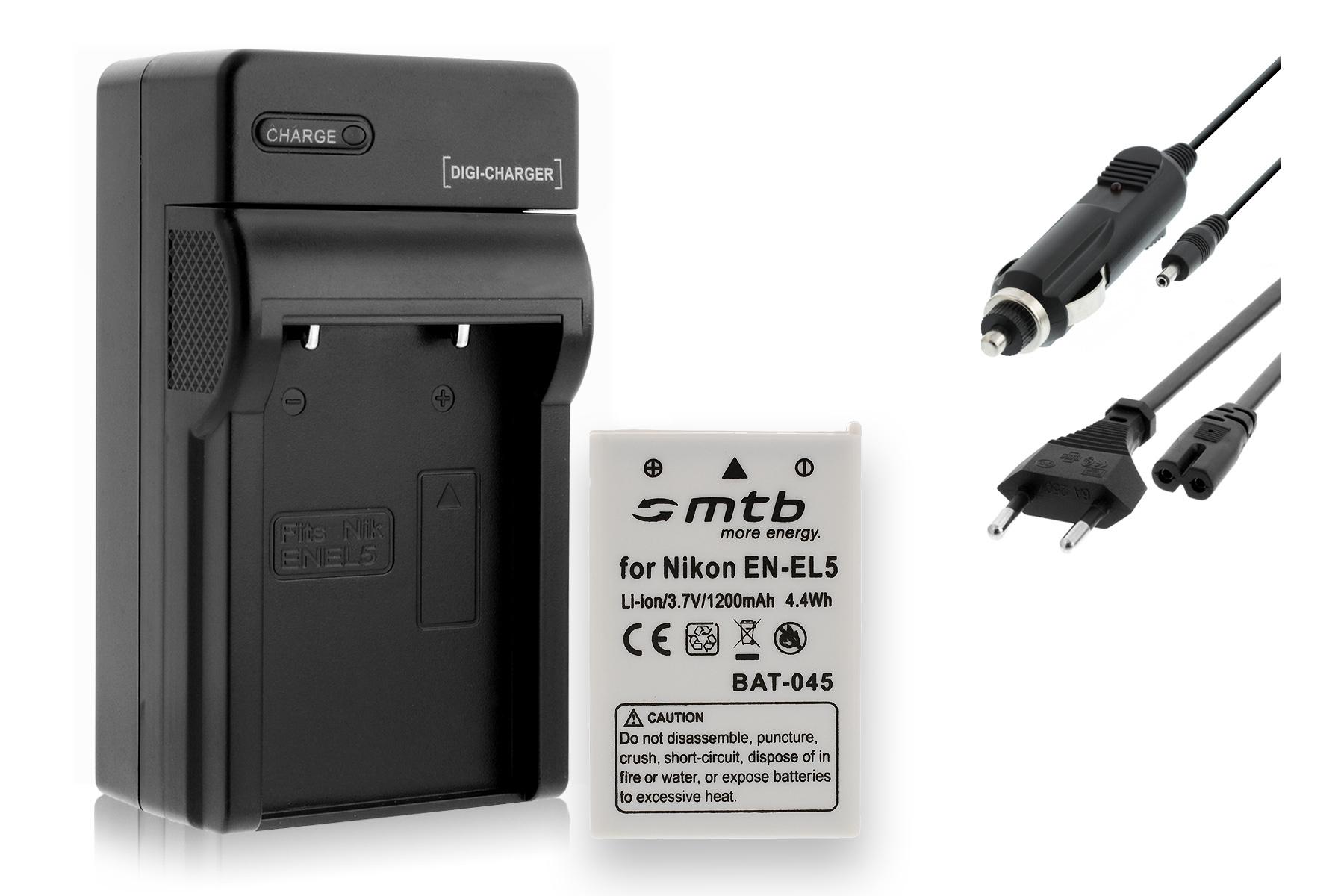 USB Caricatore EN-EL5 per Nikon Coolpix P90 P100 P500 P510 P520 2x Batterie